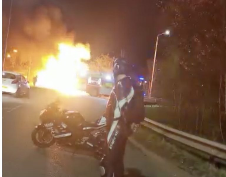 Video shows huge car fire on A610 Nottinghamshire