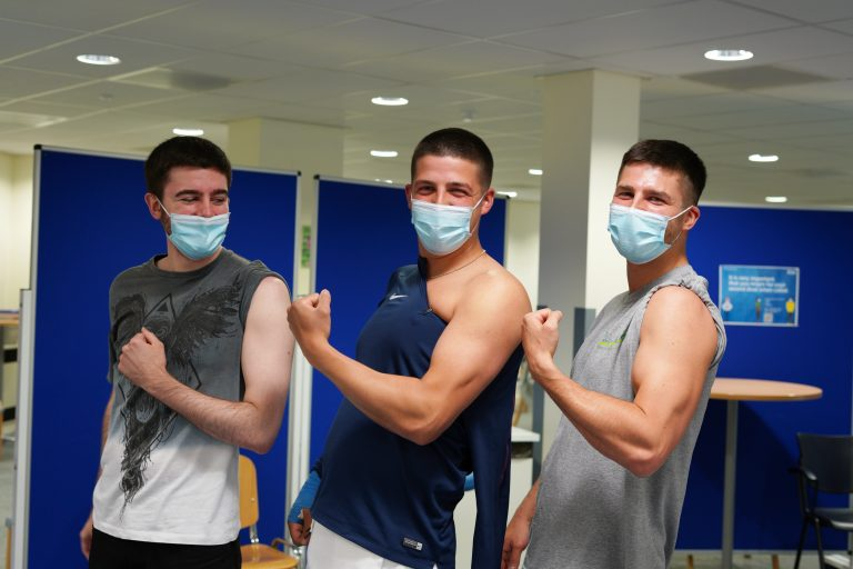 Video: Three brothers get vaccinated together as King's Mill Hospital delivers 100,000th vaccine