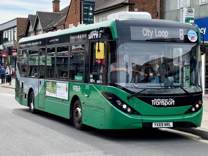 Route 8 city loop Green Nottingham City Transport bus in Central Avenue in West Bridgford April 2021 Nottingham Bank Holiday bus services and travel centre hours © westbridgfordwire.com