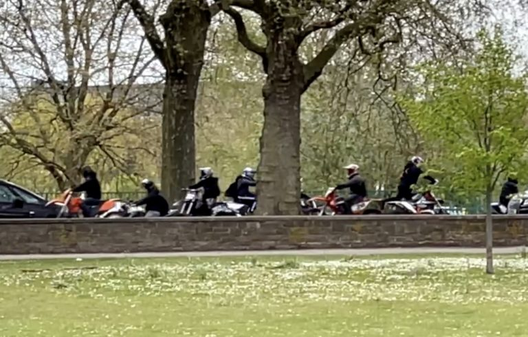 Video: 'Nuisance' off-road bikers on Victoria Embankment's restricted zone come face-to-face with a police car