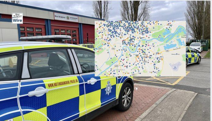 Nottinghamshire Crime Map March 2021