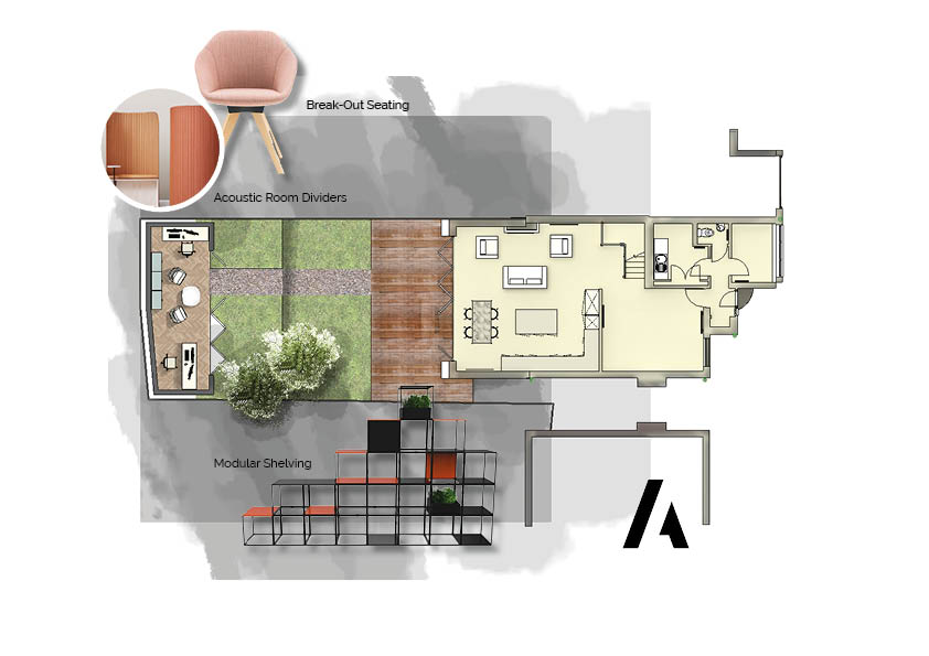 Study Space Plan with Furniture