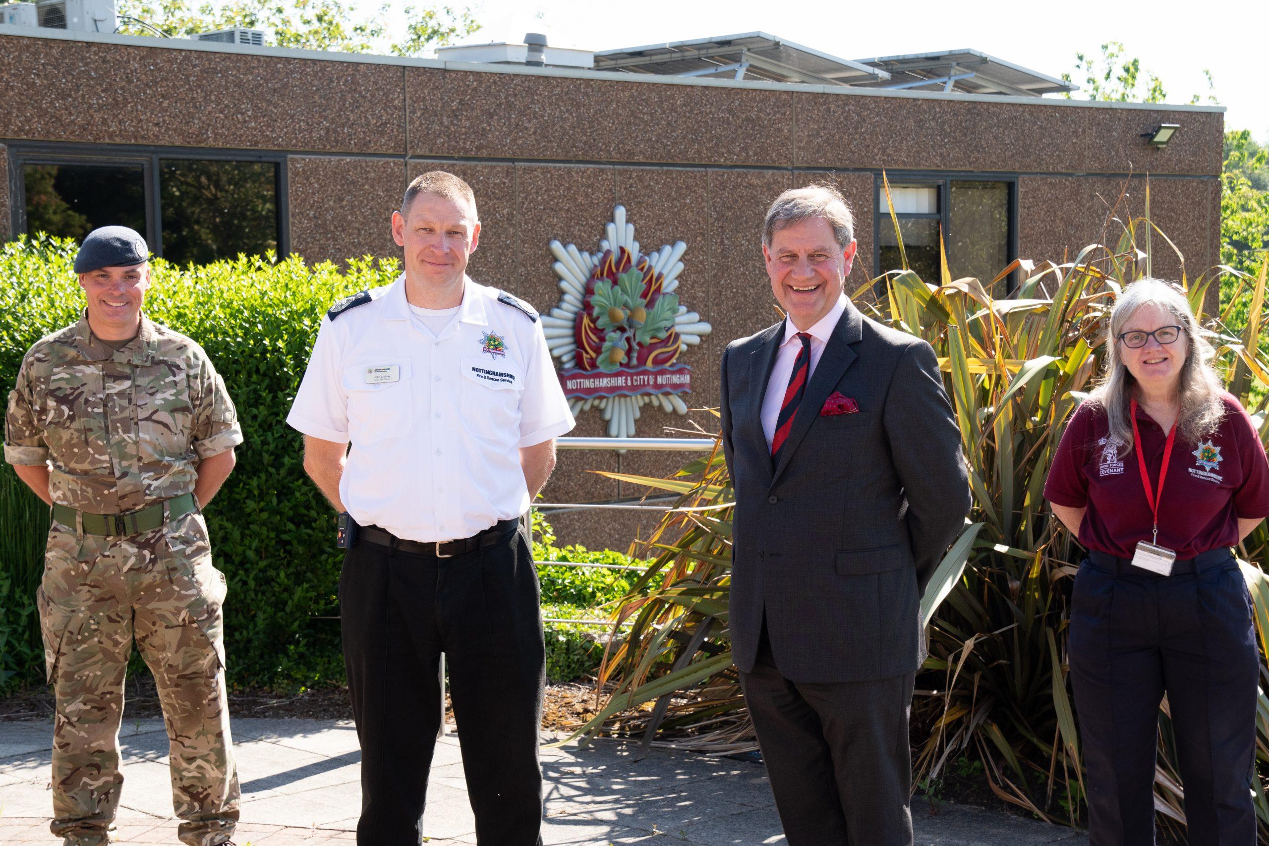 Reservist Mark Collishaw, Chief Fire Officer John Buckley, Major (Ret.) Bruce Spencer and Major (Ret.) Thelma Ward