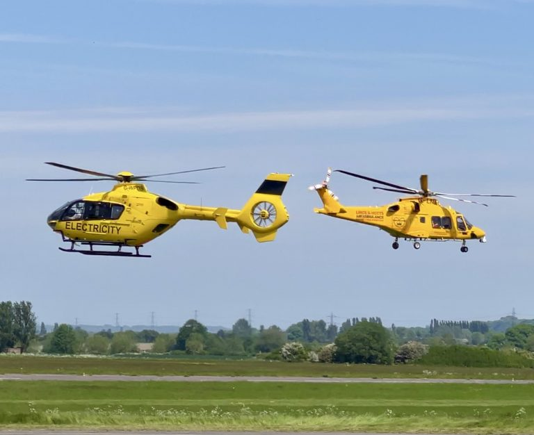 Lincs Notts Air Ambulance meets WPD Electricity at Nottingham City Airport