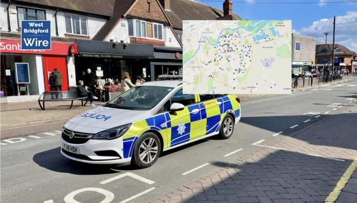 West Bridgford and Rushcliffe Crime Map August 2021