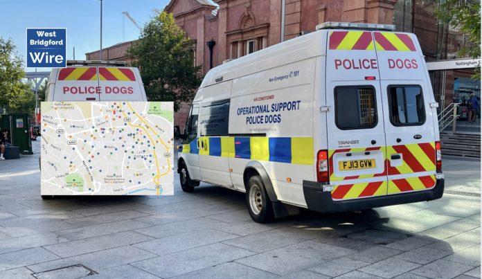 Nottingham City Crime Map August 2021