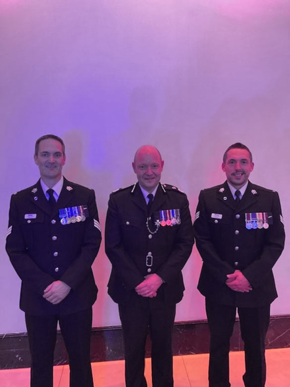 Sgt LEONARDI L and Sgt DALEY R with Chief Constable Craig Guildford