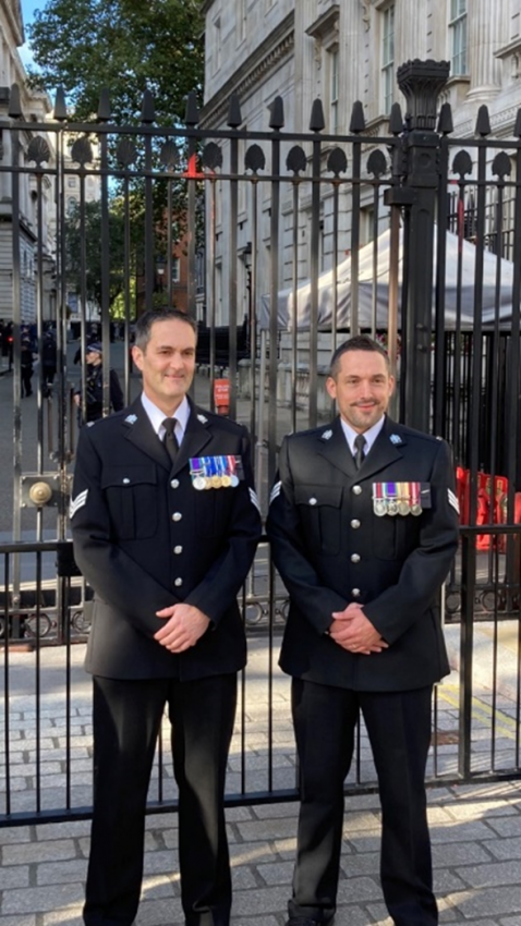 Sgt LEONARDI L and Sgt DALEY outside Downing Street